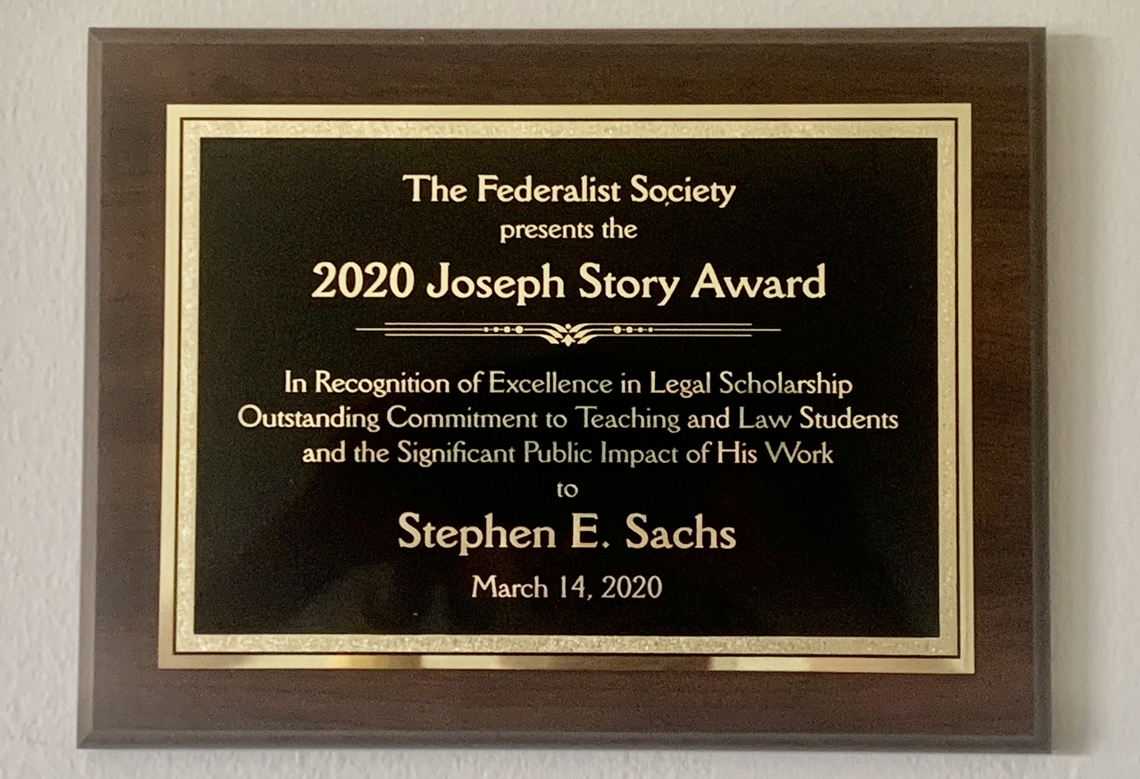 Remarks from the 2020 Joseph Story Award