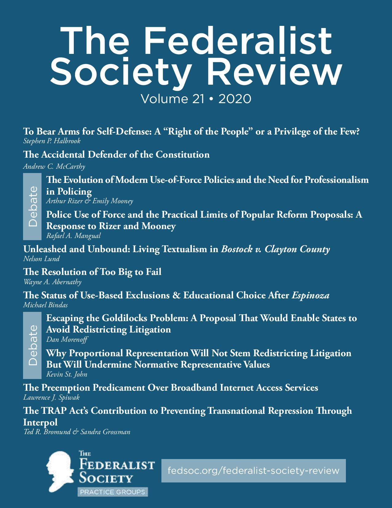 Federalist Society Review, Volume 21