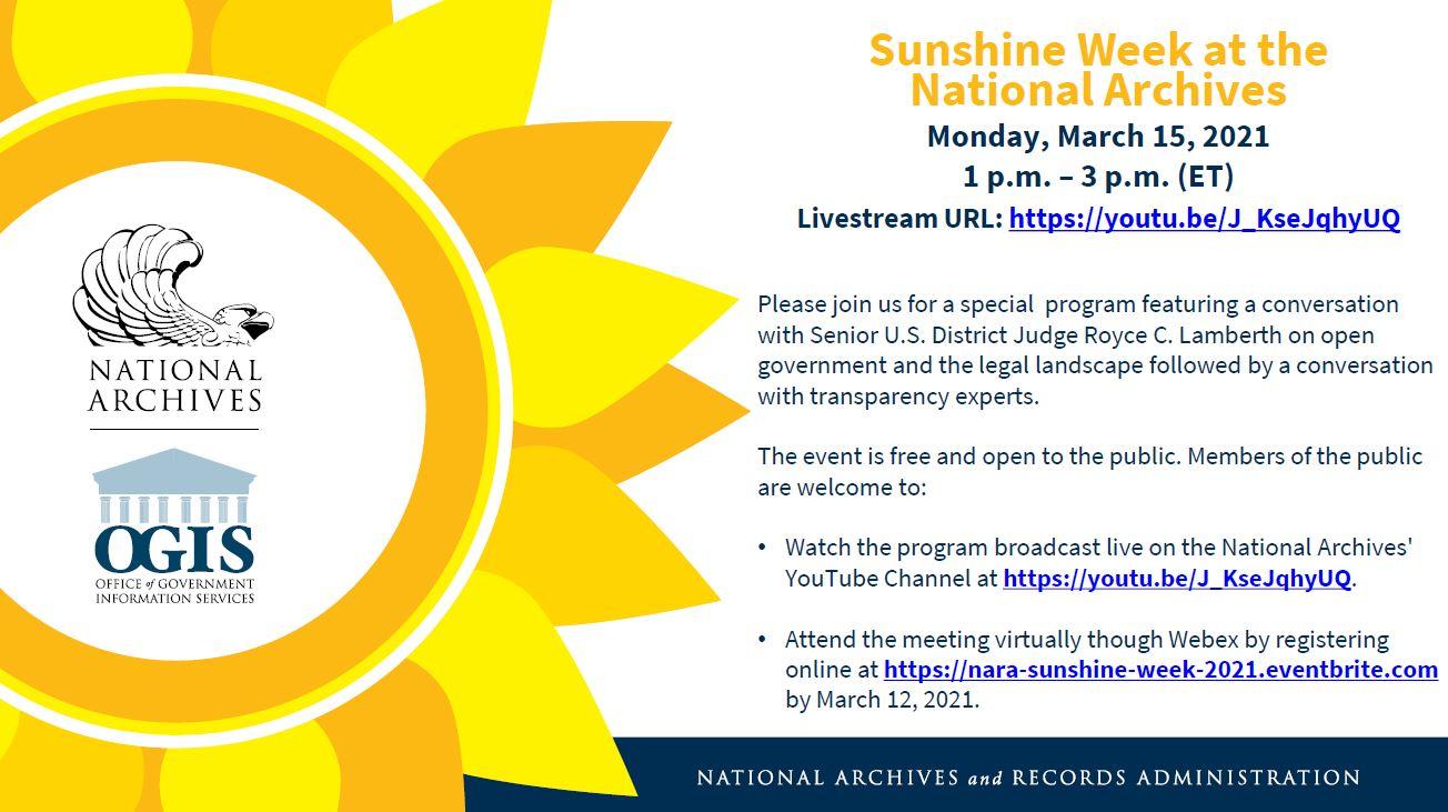 Sunshine Week Event With Judge Royce Lamberth